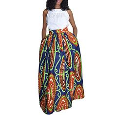 Vintage Women's African Print High Waist A-Line Maxi Flare Skirt ** Check out the image. Amazon Affiliate Program's Ads.