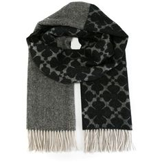 By Malene Birger Floral Fringed Scarf (1 175 SEK) ❤ liked on Polyvore featuring accessories, scarves, grey, fringe scarves, fringed shawls, wool shawl, floral scarves and wool scarves
