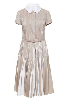 It is so nice to see a dress with such a feminine flow. Oscar de la Renta Knife-Pleat Belted Shirt Dress, $3,190; modaoperandi.com   - ELLE.com