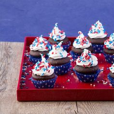 Easy mini chocolate cupcake bites for the 4th of July crowd.  Gluten & dairy free too!