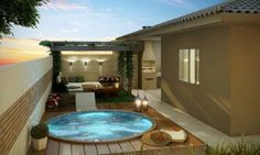 Pool with terrace, backyard deck