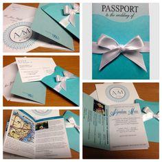 Destination wedding invitations, Tiffany theme.