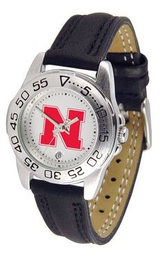 Nebraska Cornhuskers Ladies Sport Watch With Leather Band