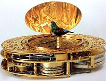 Rothgar's passion for machines: Miniature automaton singing bird concealed below an oval lid Partial view of an oval-shaped fusee-driven movement by Jaquet-Droz & Leschot, c.1790.