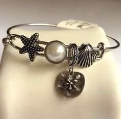 Silver Sea Life Starfish Charm Bracelet Plated Pearl Island Beach Shells 8 Inch #Redwood #Bangle