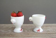 2 white vintage milk glass chicken egg cups