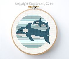 Orca orche Cross Stitch Pattern Instant Download madre e ricamo vivaio carino bambino