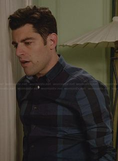 Schmidt's navy blue checked shirt on New Girl.  Outfit Details: http://wornontv.net/30749/ #NewGirl