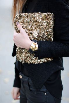 Gold sequin clutch.
