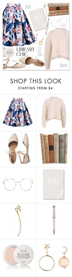 """""""library chic"""" by mycherryblossom ❤ liked on Polyvore featuring Gap, Topshop, Fringe, Mikimoto, Montegrappa and Fresh"""