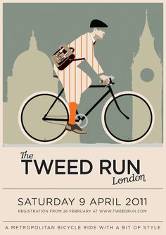 Cool bike illustration for the The third annual 2011 London Tweed Run.