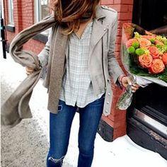 plaid button up + moto jacket + tear & repair jeans
