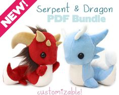 Sewing Stuffed Animals PDF sewing pattern with videos - Snake and Dragon stuffed animals - kawaii DIY art doll plush plushie soft toy serpent basilisk leviathan - PDF bundle for customizable DIY dragon sewing patterns! Sewing Toys, Free Sewing, Sewing Crafts, Sewing Projects, Plushie Patterns, Animal Sewing Patterns, Softies, Plushies, Sewing Stuffed Animals