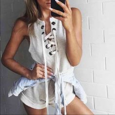 Light grey lace up knit romper Super cute romper, great for summer! Has a lace up detail in the front PREY N PRAY Tops Sweatshirts & Hoodies