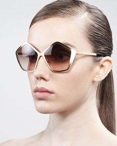 Pentagon Metal Sunglasses, Havana by Miu Miu at Bergdorf Goodman.
