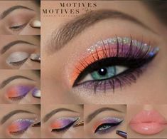 Stylish Orange And Purple Eyeshadow With Shimmery Lining And Glossy Lips