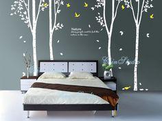 4 Birch Tree with Flying leavestree nursery wall by ChinStudio, $78.00