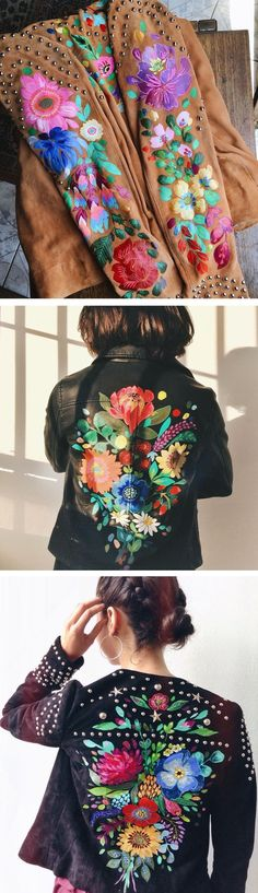Painted leather jackets by Jo Jiménez