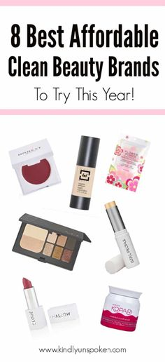 Looking to switch to cleaner beauty this year? Check out these 8 Affordable Clean Beauty Brands with some of the best natural skincare, organic makeup Make Up Tutorials, Natural Cleaning Products, Best Makeup Products, Beauty Products, Clean Beauty, Diy Beauty, Beauty Makeup, Drugstore Beauty, Natural Makeup