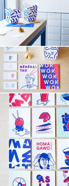 Sprinkled throughout this modern Asian restaurant are various pop art prints in a limited blue, white, and red color palette featuring famous Asian icons, songs, and food dishes.