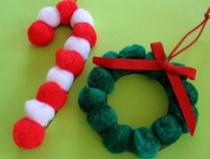 Christmas crafts for toddlers.  Love these cute little pom pom ornaments.