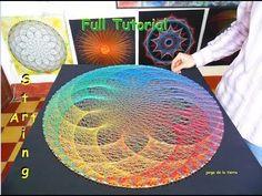 String art -- You Tube Video. String Art Templates, String Art Tutorials, String Art Patterns, Nail String Art, String Crafts, Arte Linear, Mandala, Thread Art, Paper Embroidery