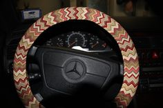 Steering Wheel Cover . Brown Chevron Cover Wheel by SouthernAplus
