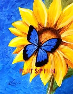 Butterfly's Sunflower by Erin Leigh for www. Paint Sip Fun .com