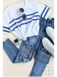 Maillot de bain : Round Neck Striped Loose T-shirt Nail Design, Nail Art, Nail Salon, Irvine, Newp… - Best of pins! Style Outfits, Cute Casual Outfits, Fall Outfits, Summer Outfits, Christmas Outfits, Hipster Outfits, Casual Wear, Summer Clothes, Tomboy Outfits