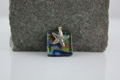 Fused glass pendant with sterling silver starfish bail