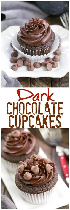 Ghirardelli Dark Chocolate Cupcakes - Sublime Cocoa cupcakes with a chocolate ganache frosting! Dark Chocolate Cupcakes, Best Chocolate, Chocolate Ganache, Chocolate Desserts, Chocolate Muffins, Cupcake Recipes, Cupcake Cakes, Dessert Recipes, Recipes
