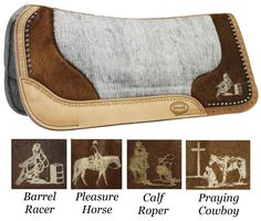 Showman Felt Pad with Leather Tool and Hair on Hide with Laser Etching - 4 Styles to Choose From! Barrel Racing Saddles, Barrel Racing Horses, Barrel Horse, Horse Saddles, Western Saddle Pads, Western Horse Tack, Cowgirl And Horse, Western Saddles, Horse Gear