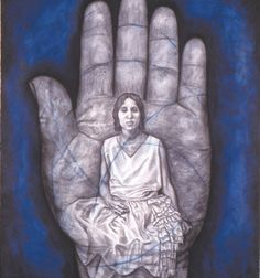 "{""Hand XIV"" 1998 by Whitfield Lovell - charcoal, graphite, and pastel}  Lovell draws anonymous people to preserve their memory, their struggle, and their heritage.  During the time 1900-1940, studio portraits were typically purchased by wealthy white Americans.  Lovell also uses the Hand of Fatima as a cultural symbol in Islamic societies to ward-off the ""evil eye"".  How does this symbol help communicate Lovell's message?"