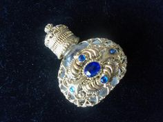 Vintage Perfume Bottle Blue Stones | MartiniMermaid - Collectibles on ArtFire