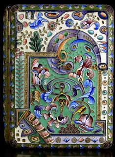 Russian cigarette case with Cloisonne Enamel ca. 1916