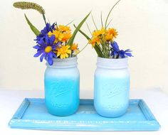 Set of Two Lt Blue and Aqua Mason Ombre by CaribbeanStyleDecor, $21.00