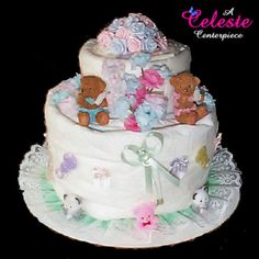 Teddy Bear Baby Shower Towel Cake