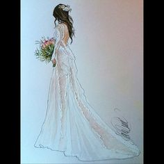 look back at beautiful Heather in For Illustration enquiry- please Wedding Dress Illustrations, Wedding Dress Sketches, Wedding Dresses, Dress Drawing, Grace Loves Lace, Watercolor Fashion, Fashion Design Sketches, Wedding Art, Bridal Style