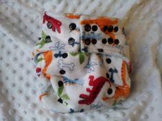 White Dinosaur Cloth Nappy / Diaper OSFM by LittleBabybugsLtd, £15.00