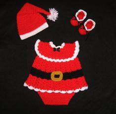 Baby Girl Crochet Santa Diaper Dress Set