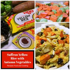 Saffron Yellow Rice with Autumn Vegetables - A delicious saffron rice with roasted sweet potatoes, brussels sprouts, dried cherries and slivered almonds. Roasted Vegetable Recipes, Mushroom Soup Recipes, Roasted Vegetables, Veggies, Saffron Rice, Yellow Rice, Potato Rice, Dried Cherries, Cabbage Soup