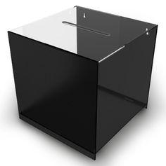 Black Cube Acrylic Suggestion Box, Counter or Wallmounted