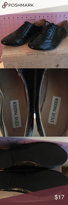 Black Patent Leather Oxford Flats Gently used. Insides are clean and bottoms have some wear but not dirty. Couple of flaws shown in pic. Nothing noticeable to naked eye. Size 8.5 but they fit like an 8. Steve Madden Shoes Flats & Loafers