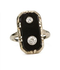 1930's Double Diamond Onyx Ring