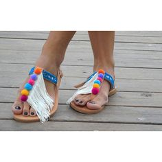 RiRiPoM Leather Boho Sandals Pom Pom Sandals Fringe by RiRiPoM