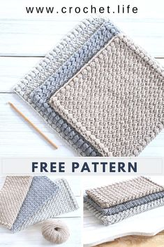 This easy crochet dishcloth pattern with matching hand towel is so simple, it works up quick and makes an amazing free crochet dishcloth gift! Crochet Diy, Crochet Simple, Tunisian Crochet, Crochet Gifts, Crochet Towel, Crochet Kitchen Towels, Crochet Fabric, Double Crochet, Crochet Capas