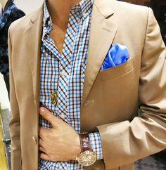 gingham shirt. camel blazer. blue pocket square. watch. fresh. spring. style.