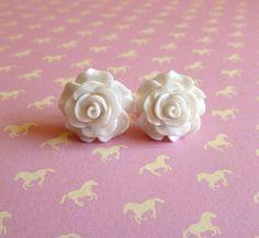 Beautiful Bloom Flower Post Earrings White by Stephsjewels4ella, $8.00