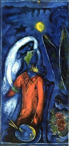Lovers near Bridge - Marc Chagall Completion Date: 1948 Place of Creation: France Style: Naïve Art (Primitivism) Genre: genre painting Technique: oil Material: canvas Dimensions: 99 x 47 cm Gallery: Private Collection colour scheme and surface Marc Chagall, Artist Chagall, Chagall Paintings, Chagall Prints, Pablo Picasso, The Kiss, Illustration Art, Illustrations, Pierre Auguste Renoir