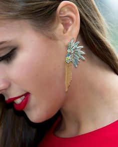 Fringe on Glacier Earrings  $30